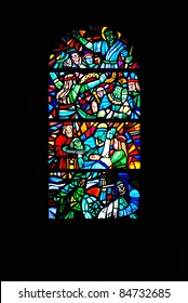 Stained Glass Window Depicting Bible Scenes