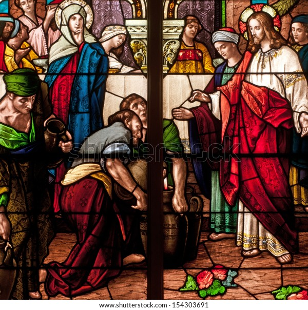 Stained Glass Window Depicting Bible Story Stock Photo (Edit
