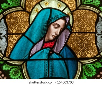 Stained glass window depicting the Blessed Virgin Mary as the Sorrowful Mother, or Dolorous Mother