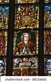 Stained glass window depicting J.S. Bach, St. Thomas Church, Leipzig, Germany