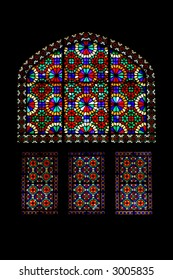 Stained Glass window in Dowlat Abad in Yazd, Iran