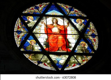 Stained Glass Window of Jesus from Cathedral in Basel, Switzerland