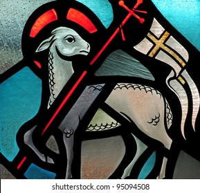 Stained glass window of Lamb of God Easter symbol