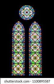 Stained glass window in a Myeongdong Cathedral in Seoul, South Korea