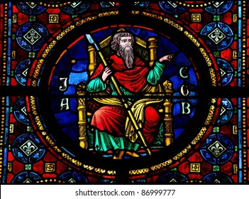 Stained glass window in the Notre Dame church of Dinant, Belgium, depicting Jacob, the third Hebrew patriarch and ancestor of the tribes of Israel.