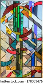 Stained Glass Window Panel of Yin and Yang Circles