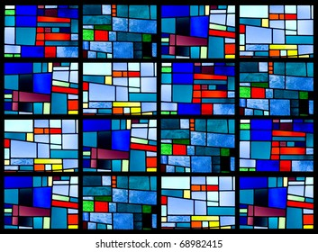 Stained glass window pattern with a blue tone