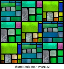 Stained glass window pattern with a blue-green tone, Square format