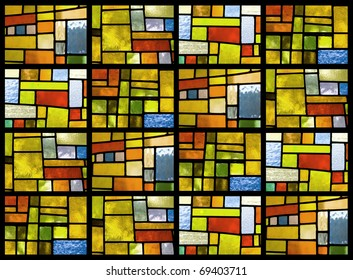 Stained glass window pattern in a greenish tone