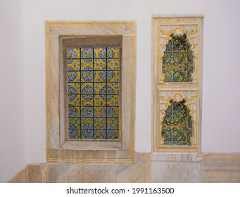 A stained glass window and recesses in the Baths of the Sultan and the Queen Mother in Topkapi Palace Harem in Istanbul, Turkey