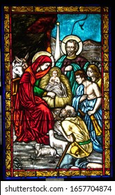 Stained glass window representing the birth of Jesus in the Annunciation Cathedral in Targu Mures City Romania 26.02.2020