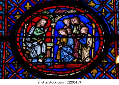 Stained glass window in Sainte Chapelle, Paris, France