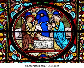 Stained glass window showing a Nativity Scene