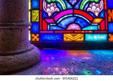 Stained glass window sill