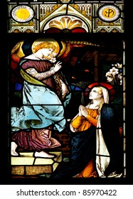 Stained glass window in St. Nikolai church (Orebro, Sweden) is depicting St.Gabriel who announces the Blessed Virgin Mary God's plan for her to be the Mother of His Son, Jesus.