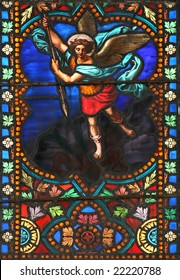 Stained glass window in St.Samson cathedral ( Dol-de-Bretagne, France) depicting The Archangel Michael.
