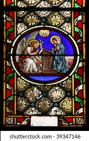 Stained glass window in St.Victor church ( Castellane, France), depicting  St.Gabriel who announce the Blessed Virgin Mary God's plan for her to be the Mother of His Son, Jesus.