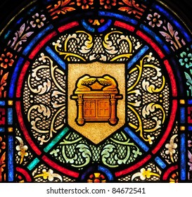 Stained glass window with symbol of Ark of the Covenant