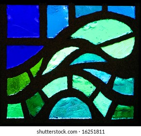 A stained glass window wave representation