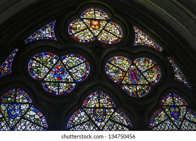 Stained glass window in Westminster Abbey in London