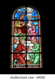 Stained glass windows of the cathedral of Perigueux, France.