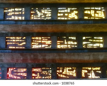 Stained glass windows in church, San Salvador