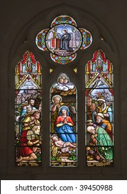 Stained glass windows representing the Nativity Scene - Christmas