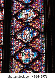 Stained glass windows in Sainte Chapelle Paris, France