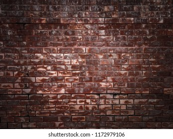 stained old dark brown and red brick wall background, grungy rusty blocks of stone-work technology, Background of brick wall texture, Vintage cleaned red brick wall. Empty background.