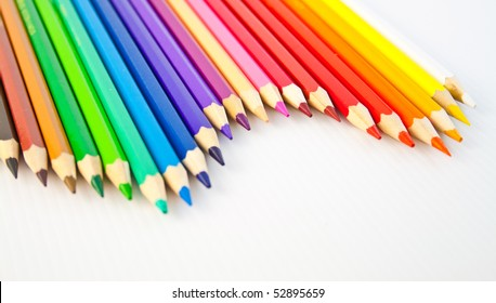 Stained pencils on a white ground