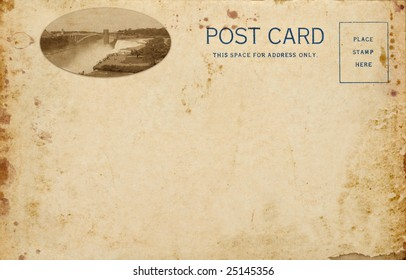 A stained vintage postcard including my photo of Niagara Falls in New York.