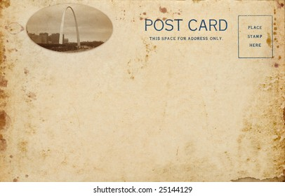 A stained vintage postcard with photo of the Gateway Arch in St. Louis Missouri. Gateway Arch photo is my work.