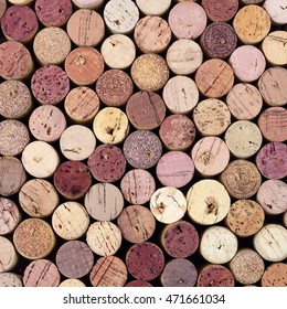 Stained wine corks square background