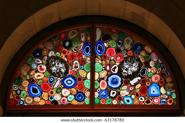 Stained-glass window in the Grossmunster (Zurich, Switzerland).