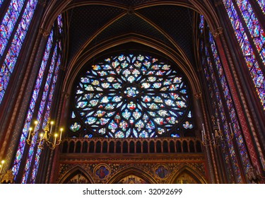 Stained-glass window of Notre Dame in Paris