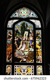 Stained-glass window. Santuario SS. Capitanio e Gerosa Lovere Italy, April 22 2017