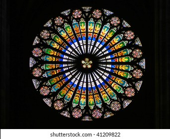 Stained-glass window in Strasbourg Cathedral (Strasbourg, France).