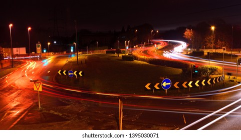 Staines, Surrey / United Kingdom - February 10 2019: The busy Crooked Billet at night.