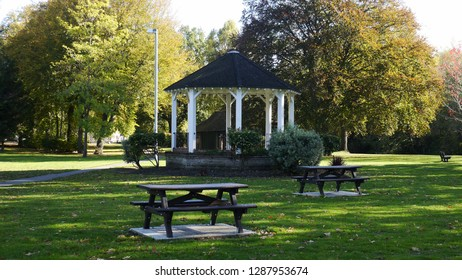 Staines,Surrey/Uk October 29 2018;Victorian Wooden Bandstand in a public park in staines surrey