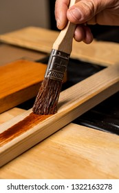 Staining wood with a paint brush