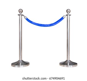 Stainless barricade with blue rope isolate on white background