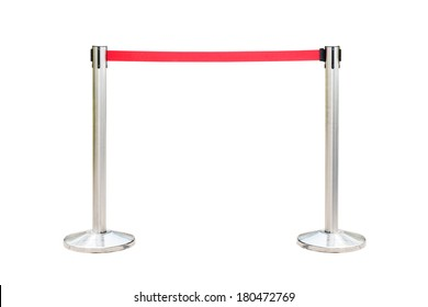 Stainless barricade with red rope isolate on white background