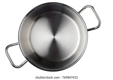 Stainless casserole, top view. Isolated on white.
