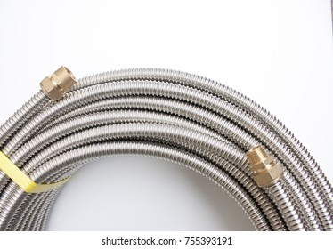 Stainless corrugated tube. Pipes for solar heating system.
