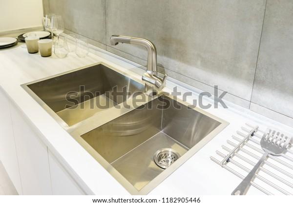 Stainless Kitchen Sink Tap Water Kitchen Stock Photo (Edit ...