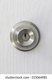 Stainless knob on white door