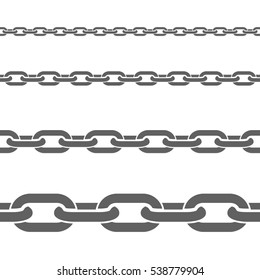 Stainless metal broad and thin steel chains fragments set for decorative seamless border black flat  illustration