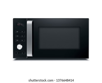 stainless microwave oven on white background
