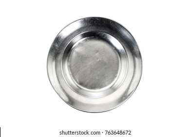Stainless plate on white background. Top view.