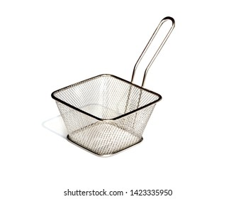 Stainless  Potato Chips French Fries Fryer Basket on white background